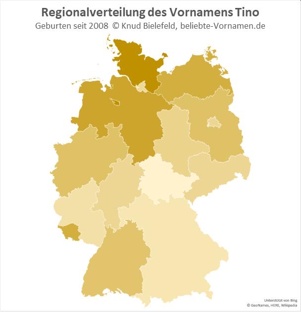 In Bremen und in Schleswig-Holstein ist der Name Tino besonders beliebt.