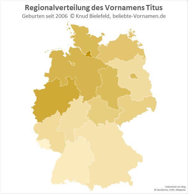 In Hamburg und Nordrhein-Westfalen ist der Name Titus besonders beliebt.