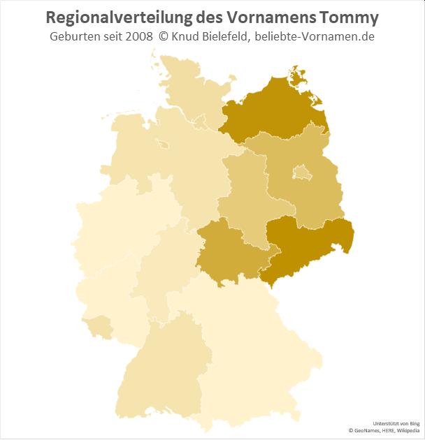 Besonders beliebt ist der Name Tommy in Sachsen und in Mecklenburg-Vorpommern.