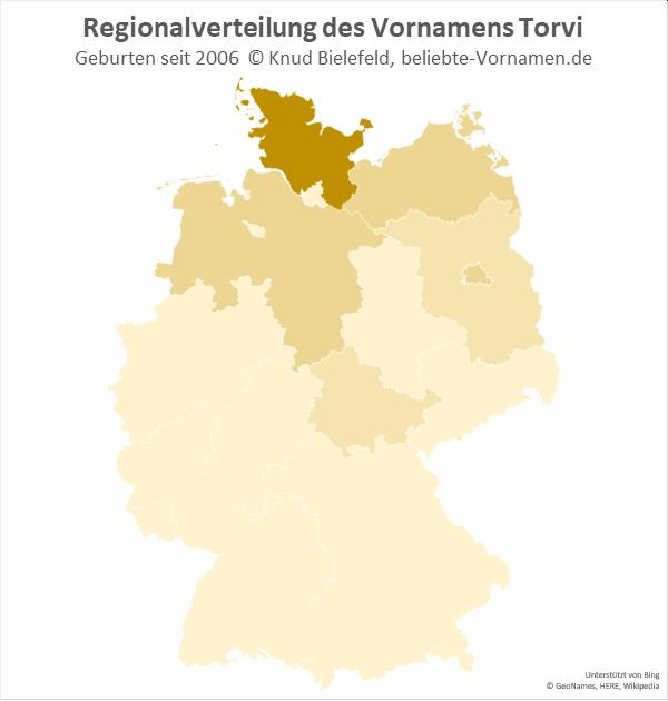 Am beliebtesten ist der Name Torvi in Schleswig-Holstein.
