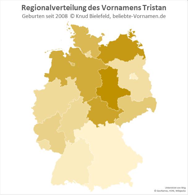 Am beliebtesten ist der Name Tristan in Sachsen-Anhalt.
