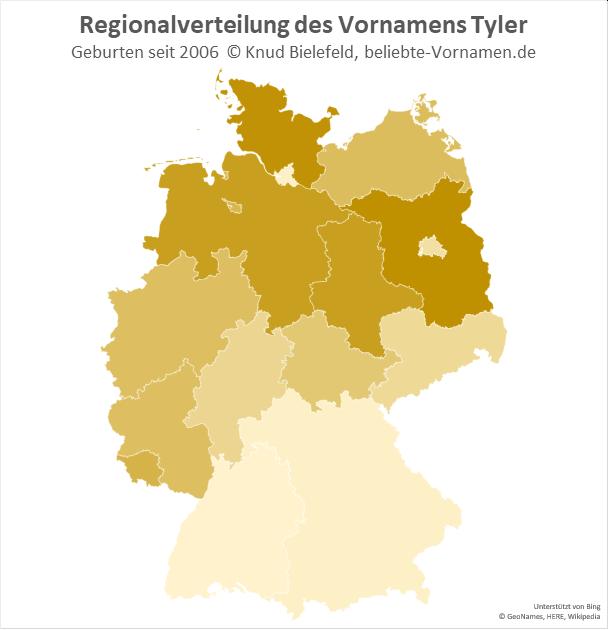 In Brandenburg und Schleswig-Holstein ist der Name Tyler besonders beliebt.