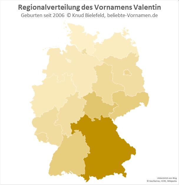 In Bayern ist der Name Valentin besonders beliebt.