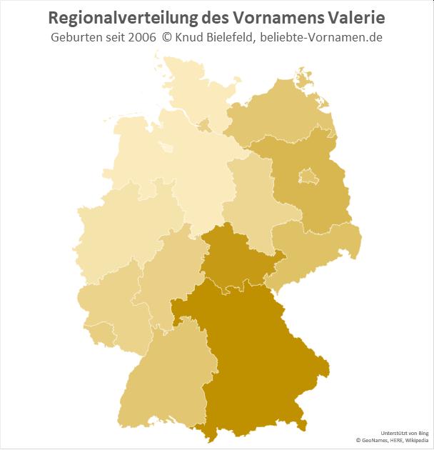 In Bayern und in Thüringen ist der Name Valerie besonders beliebt.