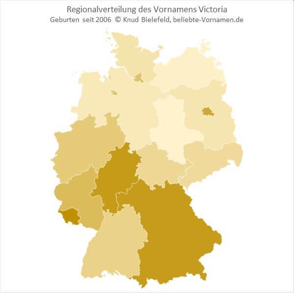 In Süddeutschland ist der Name Victoria beliebter als in Norddeutschland.