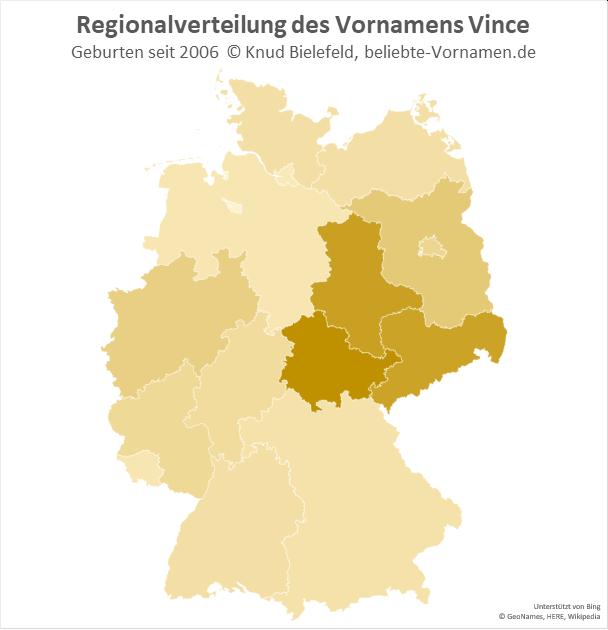 Am beliebtesten ist der Vorname Vince in Thüringen.