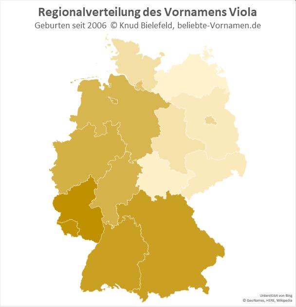 In Rheinland-Pfalz und im Saarland ist der Name Viola besonders beliebt.