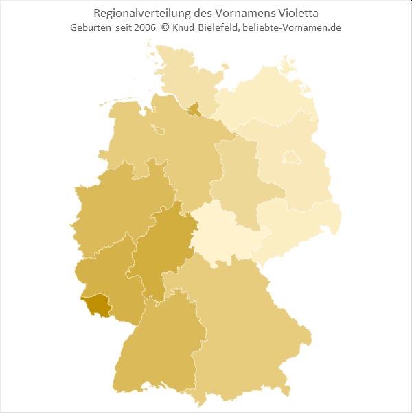 Im Saarland ist der Name Violetta besonders beliebt.