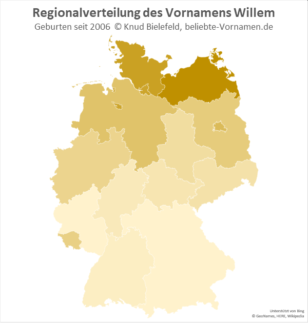Am beliebtesten ist der Name Willem in Mecklenburg-Vorpommern.