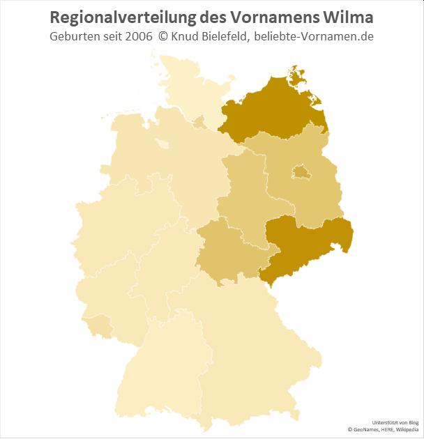 In Sachsen und Mecklenburg-Vorpommern ist der Name Wilma besonders beliebt.