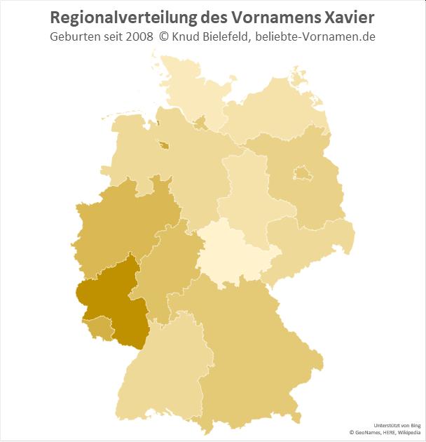 Besonders beliebt ist der Name Xavier in Rheinland-Pfalz.