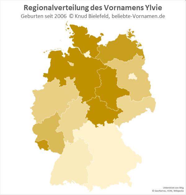 Der Name Ylvie kommt in Norddeutschland häufiger vor als in Süddeutschland.