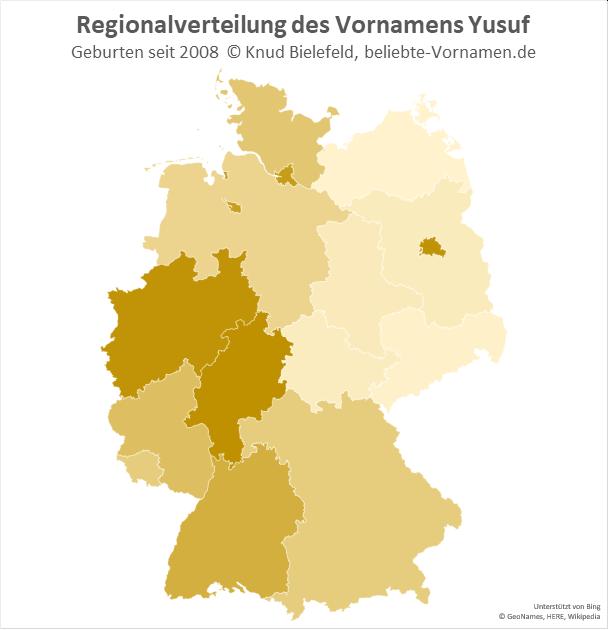 In Hessen und Nordrhein-Westfalen ist der Name Yusuf besonders beliebt.