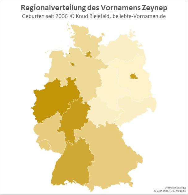 In Nordrhein-Westfalen ist der Name Zeynep besonders beliebt.