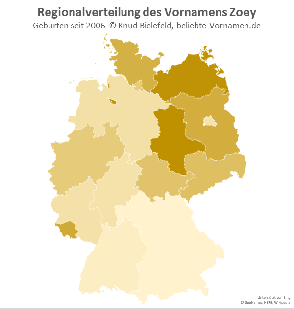 In Mecklenburg-Vorpommern und Sachsen-Anhalt ist der Name Zoey am beliebtesten.