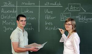Robert Böhm und Michaela Lummer ordnen Vornamen den Kategorien altmodisch, zeitlos und modern zu. Foto: TU Chemnitz/Uwe Meinhold